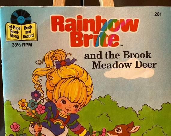 Rainbow Bite and the Book Meadow Deer - 24 Page Read-Along Book and Record - Vintage 1984 Rainbow Brite Book with 33 1/3 RPM Record