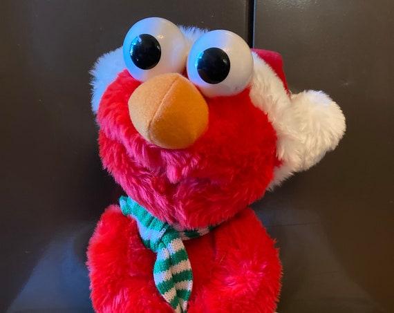 """Vintage Christmas Elmo - 1997 Christmas Elmo - 14"""" Sesame Street Christmas Santa Elmo Tyco Plush Toy Vintage 1997 -"""