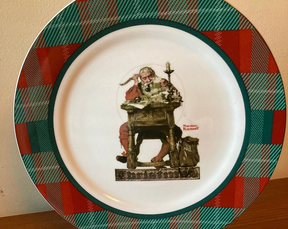 """Norman Rockwell Saturday Evening Post """"Santa Reading Mail"""" Plate"""