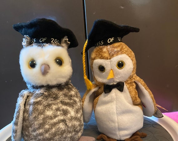 Two TY Graduation Beanie Baby Owls - Year 2000 and 2001 - TY Wisest and TY Smart