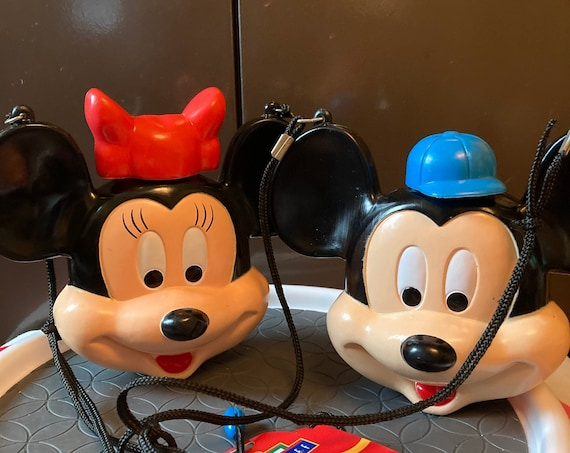 Rare Vintage Mickey adn Minnie Mouse Plastic Canteens - Walt Disney World Disneyland Mickey and Minnie Mouse Water Canteens