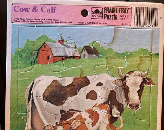 Cow and Calf 12 Piece On the Farm in the Field - Golden Brand Frame Tray Puzzle-12 Piece-Western Publishing 1983 -