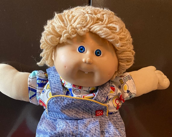 Rare Vintage Cabbage Patch, Blonde Hair, Blue eyes, One Tooth - 1985 Toddler Cabbage Patch Doll