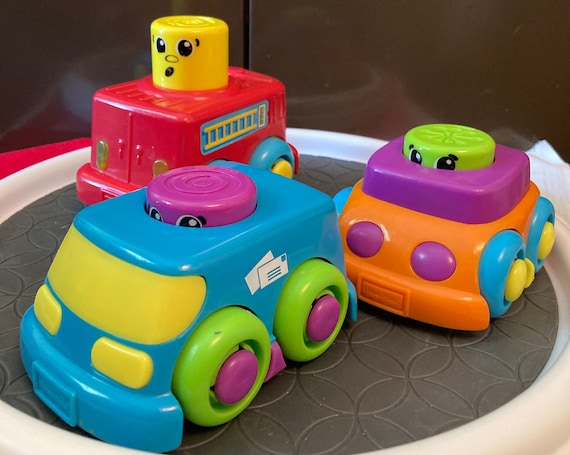 Fisher-Price 3 Stack N'Suprise Cars - Fire Truck, Mail Truck and Convertible Baby Toy