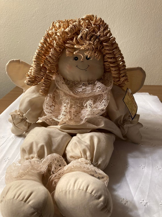 "Quilted Treasures 19"" Christmas Angel Doll with Rafia Hair"
