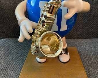 M & M Candy Dispenser - Blue Saxophone Collectable