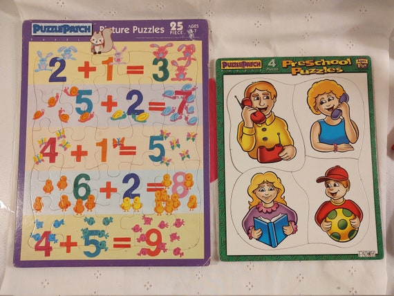 Puzzle Patch Puzzles - One Preschool Puzzle 4 Piece and One Picture Puzzle 25 Piece Addition