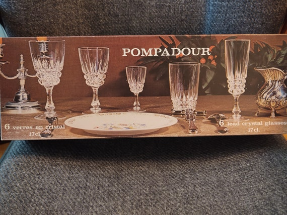 Lead Crystal Wine Glasses Pompadour by Christal D'Arques France