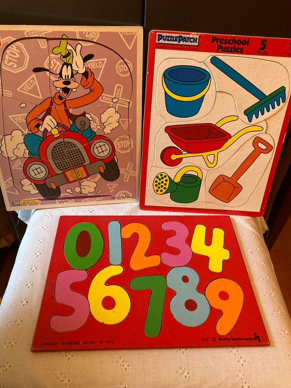 Three Vintage Puzzles - 1975 Judy/Instructo Numeral Inlays 10 pc Puzzle; Puzzle Patch 1992 - 5 pc and a Playskool Goofy 6 pc Puzzle