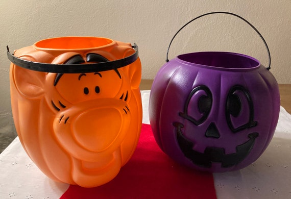 Vintage Halloween Buckets - Tony the Tiger Pail - Purple Halloween Jack O Lantern Bucket
