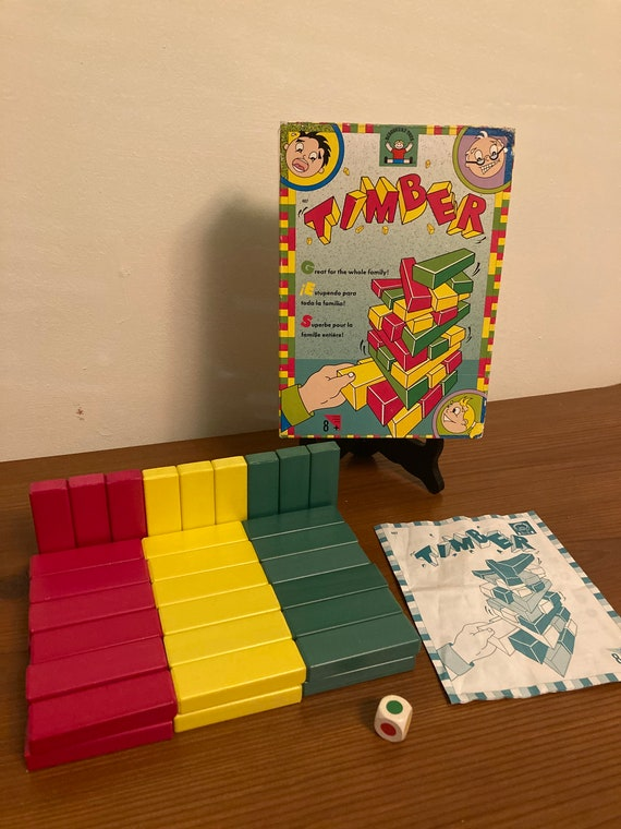1991 Timber Wooden Block Tower Game - Complete with Instructions - FREE SHIPPING