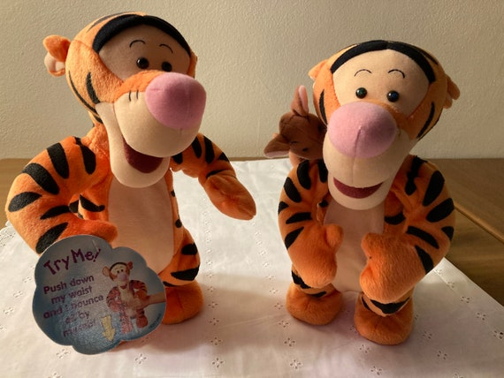 "Disney Tigger and Roo Winnie the Pooh Bouncing Singing Duet Plush Mattel 1999 11"" or Talking Bouncing Plush 12"" High"