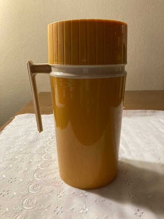 "Vintage 1970""s Light Orange Pint Size Thermos # 7202"