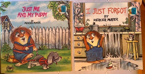 Two Delightful Vintage Mercer Mayer Books - Just Me and My Puppy and I Forgot- Golden Book Look Book