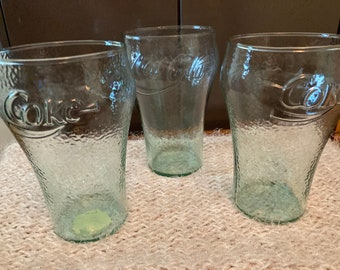 Indiana Class Co Green Rough Embossed Glass Coca Cola Glasses