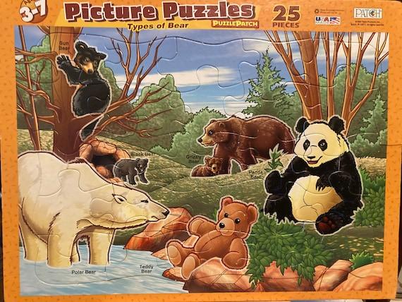 Picture Puzzle - Types of Bear Puzzle Patch 25 Piece Puzzle - Vintage 1999