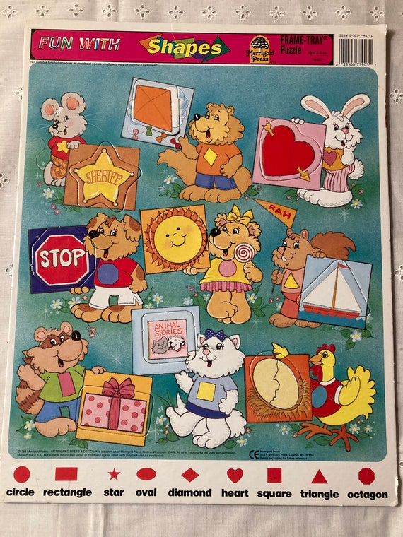 Rare 1988 Merrigold Press Design Vintage Fun With Shapes Puzzle