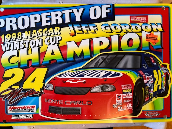 "1998 NASCAR Jeff Gordon Sign Champion 19 X 12.5"" Monte Carlo Hendrick Motorsport"