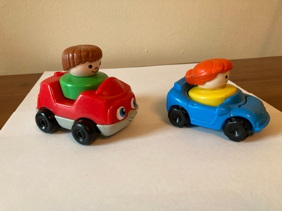 Fisher Price Vintage Chunky Little People with Cars