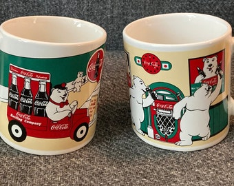 1999 Coca Cola Brand Mug Set Portraying the Coca Cola Bear