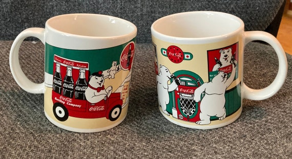 1999 Coca Cola Brand Mug Set Portraying the Coca Cola Bear
