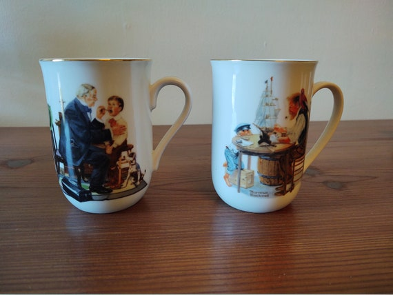 Norman Rockwell Cup - For A Good Boy - 1982 and Norman Rockwell Cup - The Country Doctor 1986