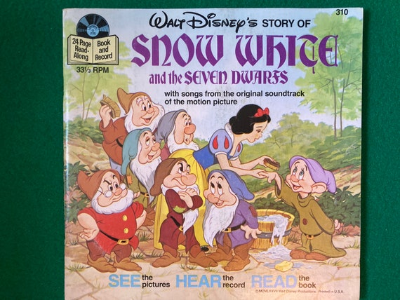 Disney Snow White And The Seven Dwarfs See Hear Read Book and 33 RPM Record - Vintage 1977  See Hear Read 310 Book/Record