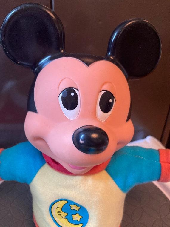 MICKEY MOUSE bedtime Hug & Glow Light Up plush doll 1990 Vintage nightlight Disney