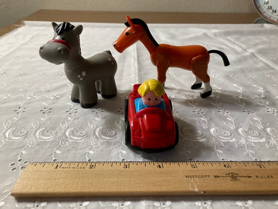 Fisher-Price Items - Two Different Replacement Horses for the Farm or Zoo Set and the LIttle Peoples Wheelies Red Car