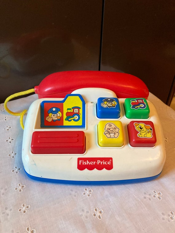 Fisher Price Play Telephone - Vintage Ring and Rattle Toy Phone 1998 - FREE SHIPPING