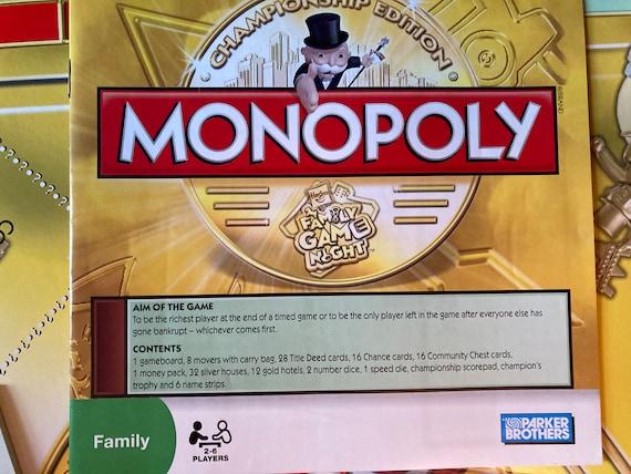 Monopoly Championship Edition - 2009 Hasbro Board Game Championship Monopoly Family Game