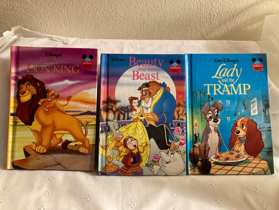Three Wounderful Disney American First Addtion Hard Cover Books; 1994 Lady and The Tramp; 1993 Beauty and the Beast; 1994 The Lion King