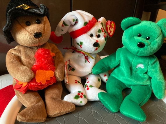 Holiday TY Beanie Baby Bears - Christmas 1998 Teddy - St Patrick's Day Erin - Thanksgiving Beanie Plymouth