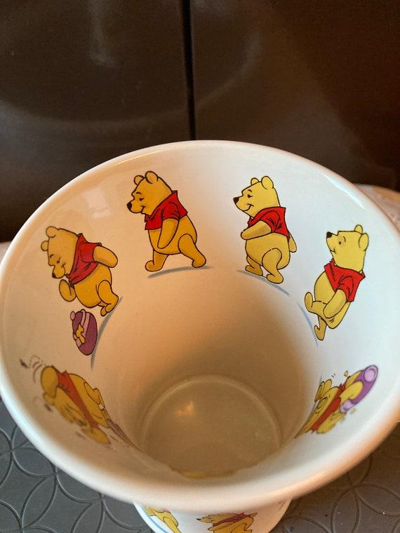 "Disney Store Winnie the Pooh Tall Ceramic Coffee Cup Mug Pooh Inside Rim 6"""