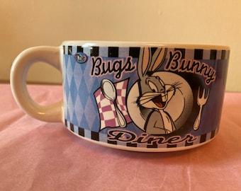 Looney Tunes Bugs Bunny Diner Ceramic Mug Cereal Bowl W/Menu