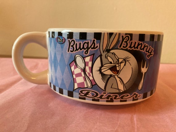 Looney Tunes Bugs Bunny Diner Ceramic Mug Cereal Bowl W/Menu