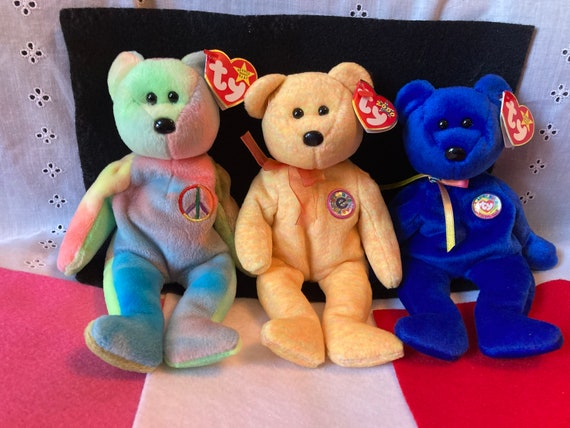 Three Unique TY Beanie Bears - Rare Vintage Ty Beanie Babies - Ty Sunny - Clubby and Peace
