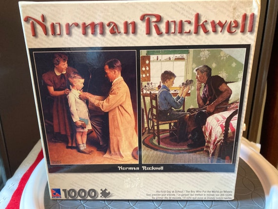 Never Opened - Norman Rockwell Sure-lox 1000 Piece Puzzle His First Day At School/The Boy Who Put the World on Wheels