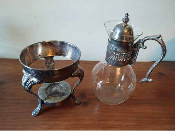 Vintage Silver Plated Glass Carafe Coffee/Tea Pot with Footed Candle Warmer Stand