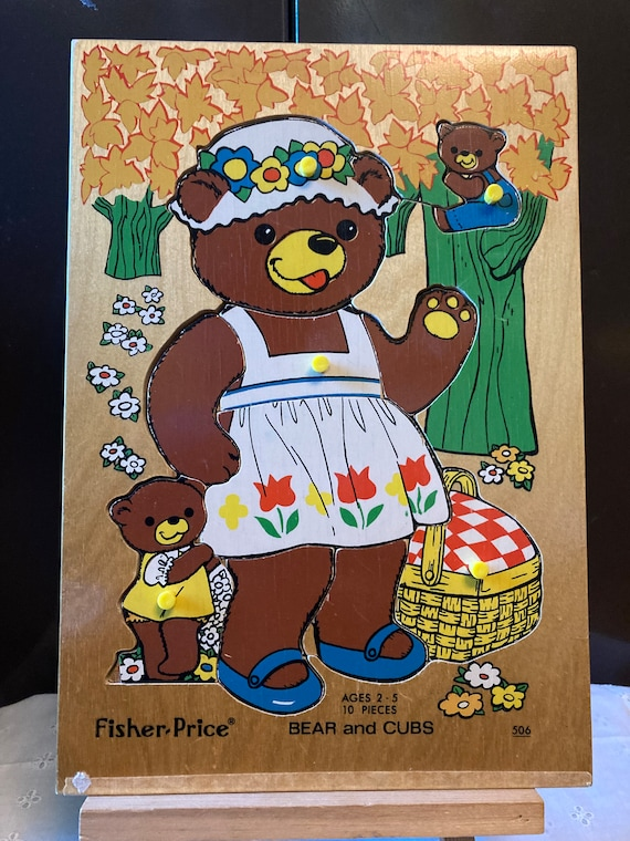 Fisher Price Bear and Cubs Wooden Puzzle 506 Vintage1979 - Bear and Cubs Fisher Price Puzzle