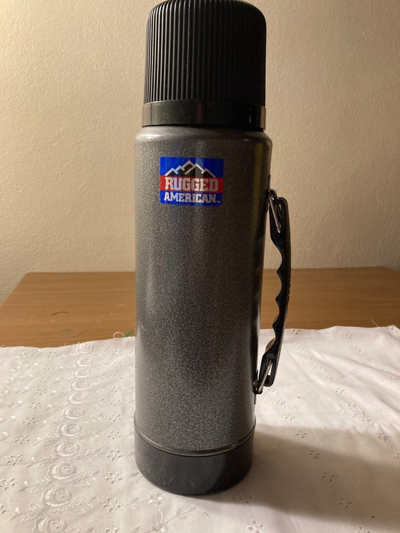 Vintage Rugged American Grey Metal Aladdin Thermos - Retro/Industrial
