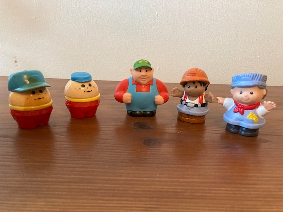 Vintage People - Fisher Price Train Engineer - Little Tykes Toddler Tot and a Chunky Toddler -and an ERTL Joh Deere Farmer