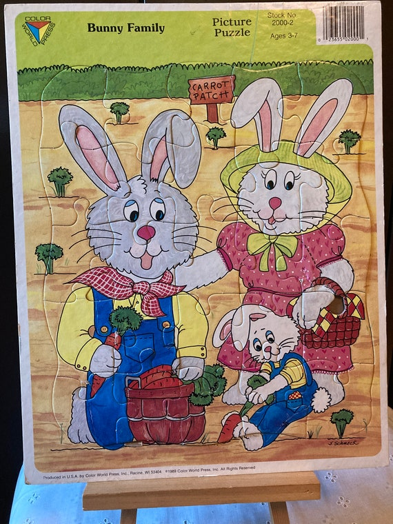 Vintage Bunny Family Color Guild Press Frame-Tray Puzzle