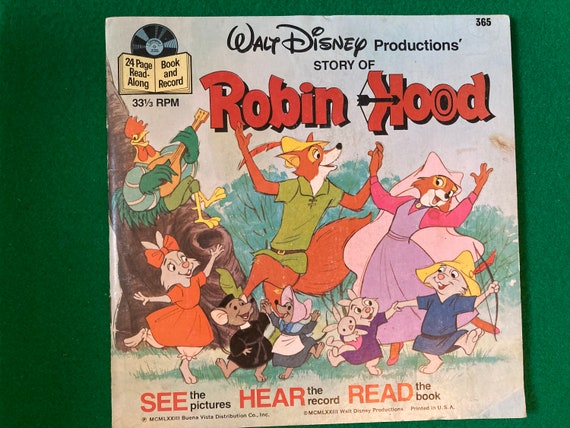 Walt Disney's Productions story of Robin Hood - Vintage See Hear and Read Book and Vinyl 33 1/3 RPM Record