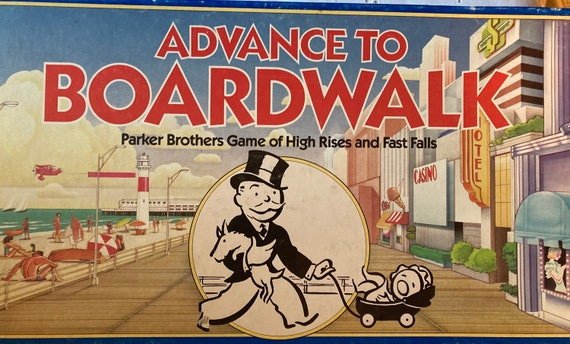 1985 Advance to Boardwalk - A Parker Brothers Game of High Rises and Fast Falls - Vintage Advance to Boardwalk Board Game 1985