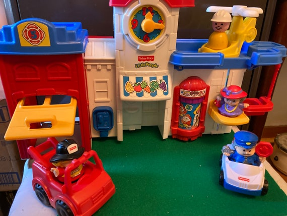 Fisher Price Fire Station Playset - Vintage Fire Station Playset with Four LIttle People