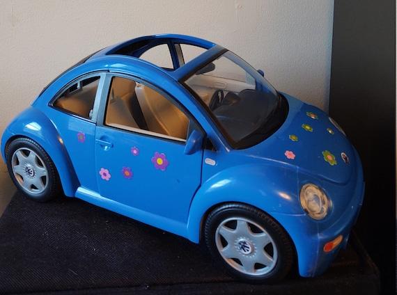 2000 Mattel Barbie Volkswagen Beetle Car with Flowers VW Vehicle Bug