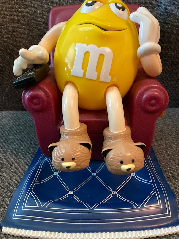 Vintage 1990's M & M Yellow Lazy-Boy Candy Dispenser