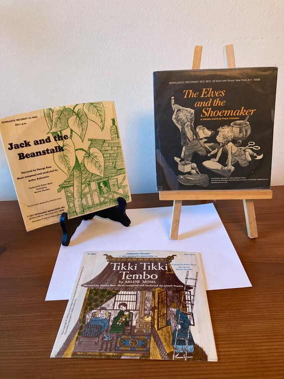 Vintage 1970's Scholastic Records - Tikki Tikki Tembo; The Elves and the Shoemaker; Jack and the Beanstalk