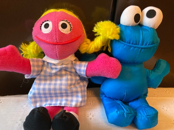 Vintage Betty Lou Sesame Street Beans Bag Plush Tyco 1997 Muppets - and 1993 Kid Dimension Sesame street Cookie Monster Bean Bag Doll